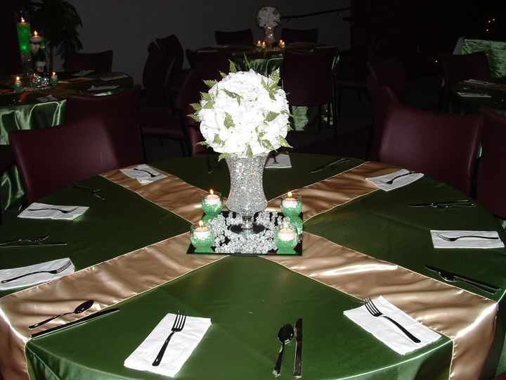 Table setup with flower centerpiece