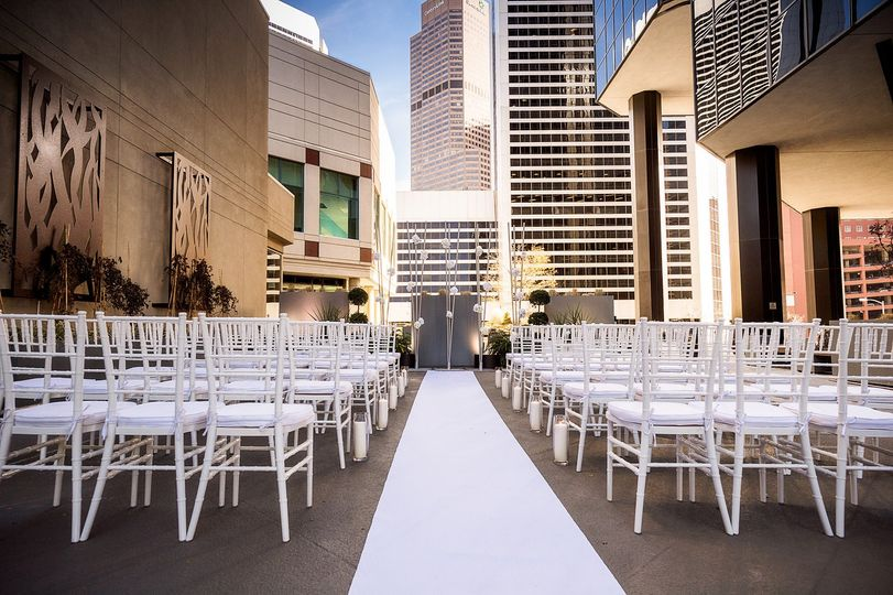 The outdoor terrace is ideal for both ceremonies and receptions.