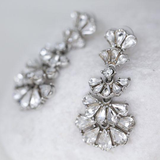 Crystal fan marquise earrings