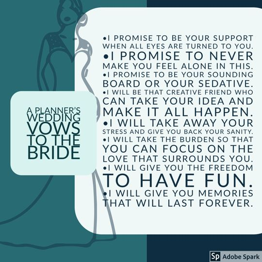 The Vow of Planner to Bride