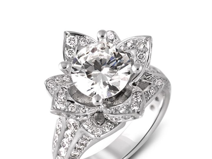 Tmx 1449596493430 18kwhitegoldblossomingflowerinpavediamondengagemen Brooklyn wedding jewelry