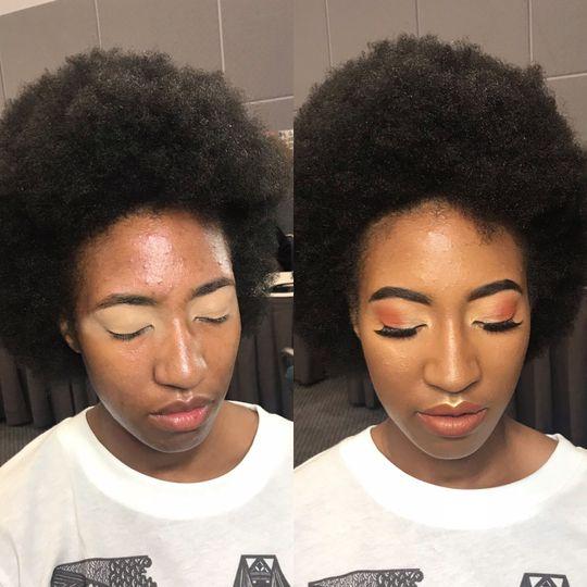 Makeup applied