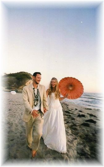 "Megan and Vincent got married on the beach and the bride and all her bridesmaids wore ""Barefoot..."