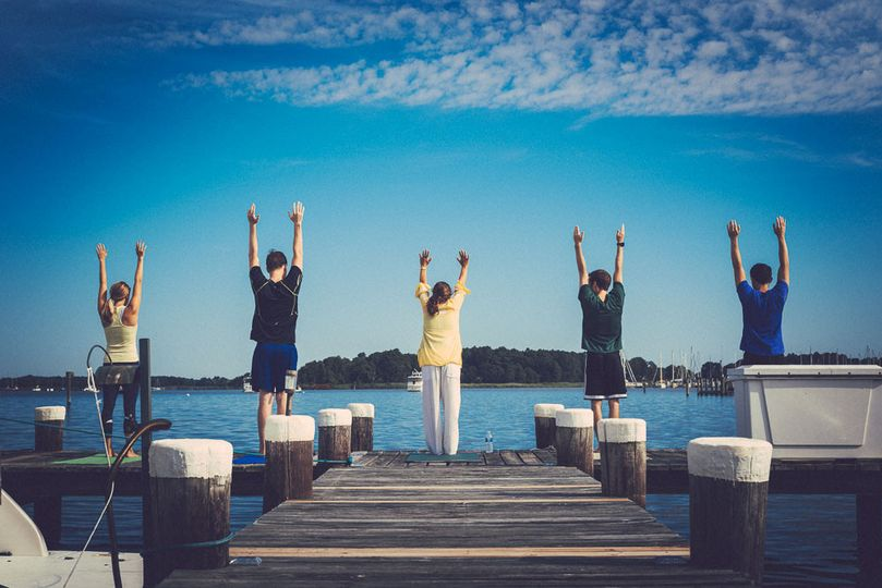 Stretching on the dock