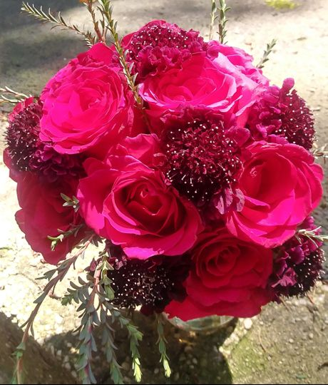 Roses and scabiosa
