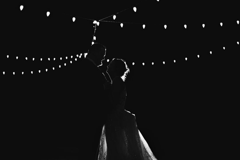 Silhouette of the newly weds