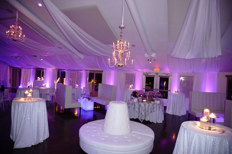 White Wedding with chandeliers