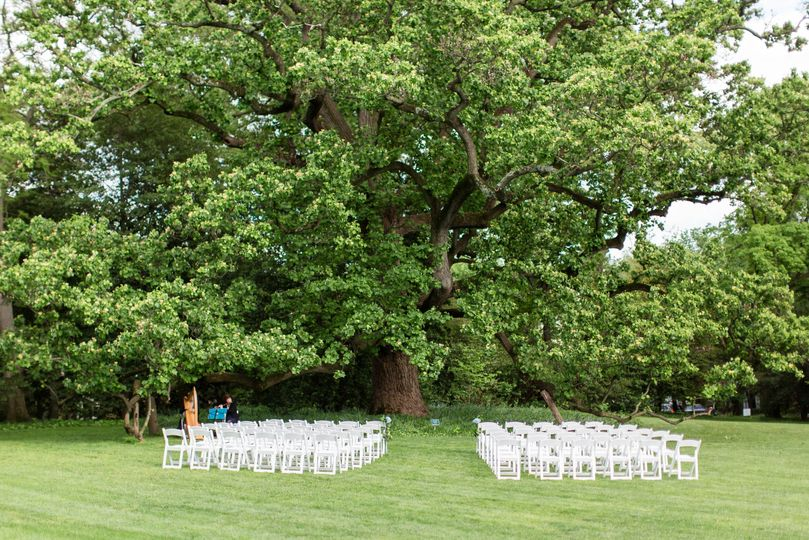 Ceremony set up on sweeping South Lawn by Candace Adelle Photography