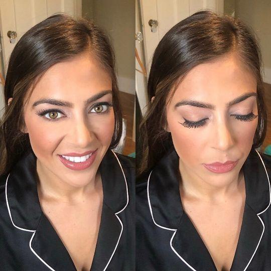Airbrush + false lashes