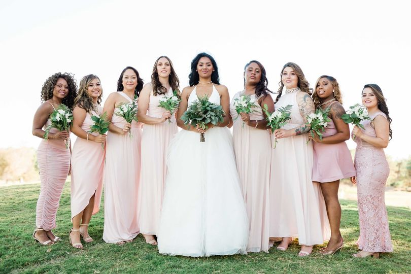 A powerful bridal party in pink