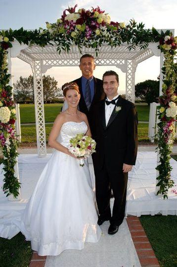 Trigger and Lindsay Reital, celebrating their wedding in Dana Point, California