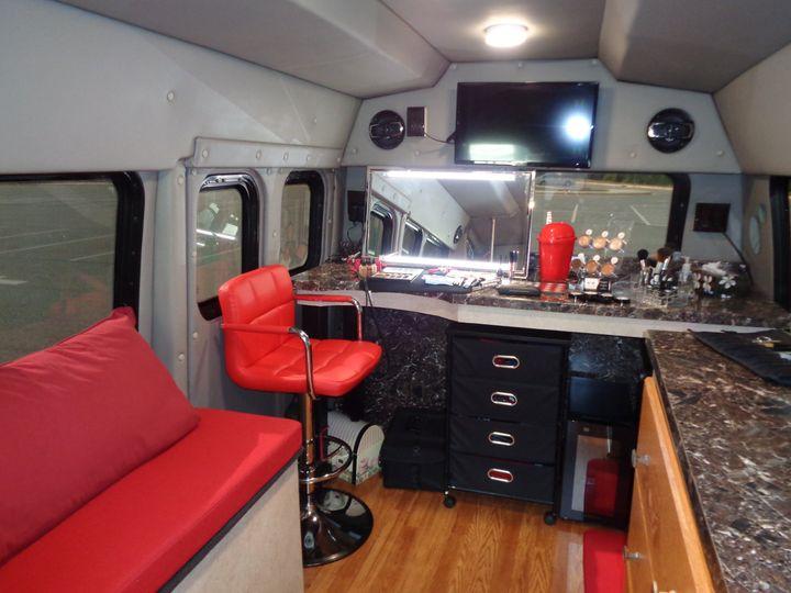 Inside mobile beauty studio