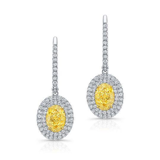 Hand Made Fancy Yellow Diamonds Earrings made with perfectly matched Ovals