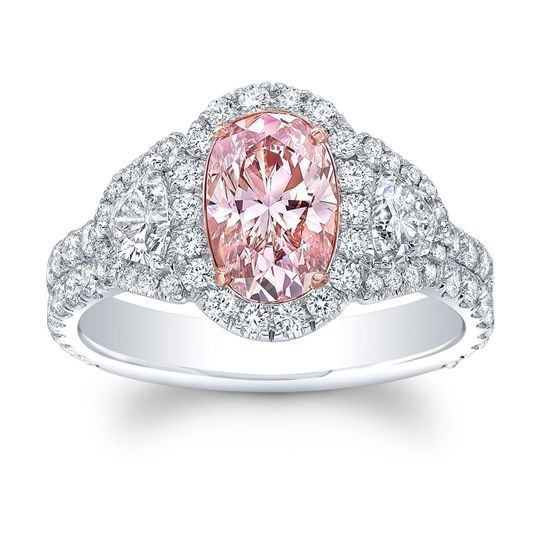 Rare Pink Diamond Set in 18k White Gold