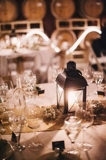 Table setup with lantern centerpiece