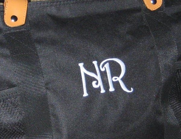 Initials embroidery close-up.