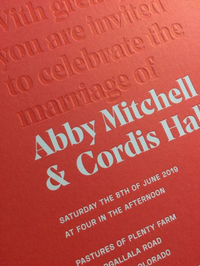 White foil+blind letterpress
