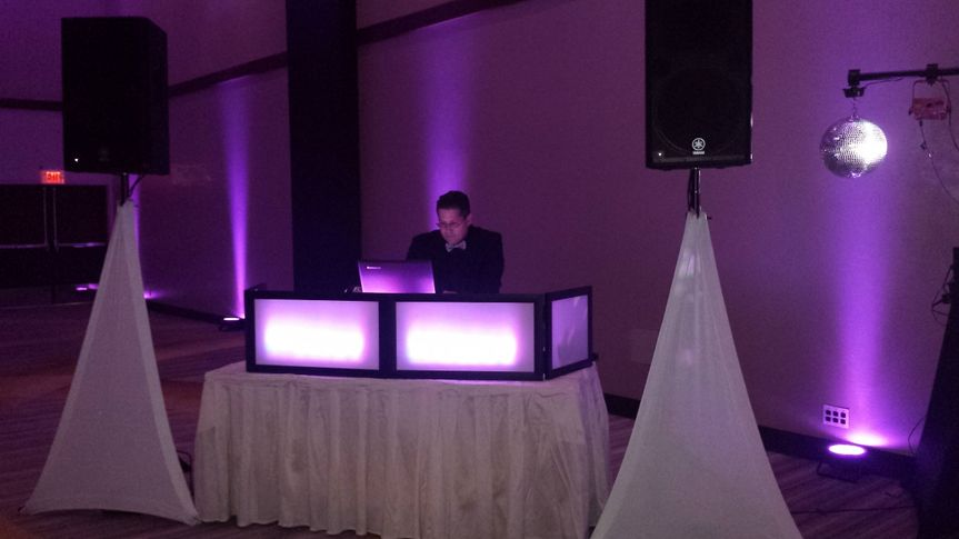 Clean sleek dj booth set up