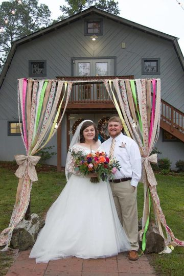 This couple decided to decorate one of our arches and have their ceremony in front of our barn
