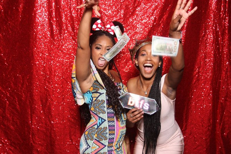 Glittery photo booth backdrop