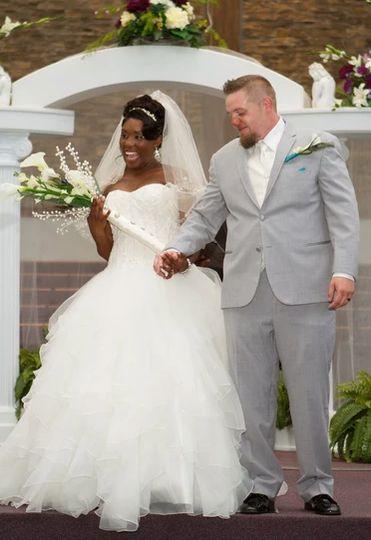 The joyous newlyweds