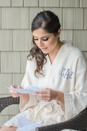 Bride reading letters