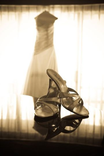 Wedding gown and shoes