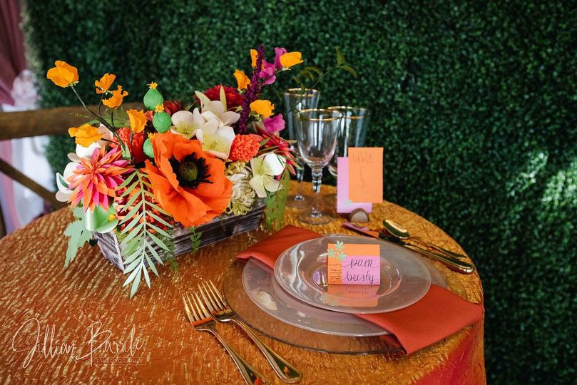 Paper flowers and place card