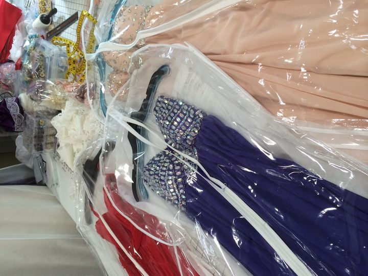 An array of prom and bridesmaid dresses altered at Sewing by Linda!
