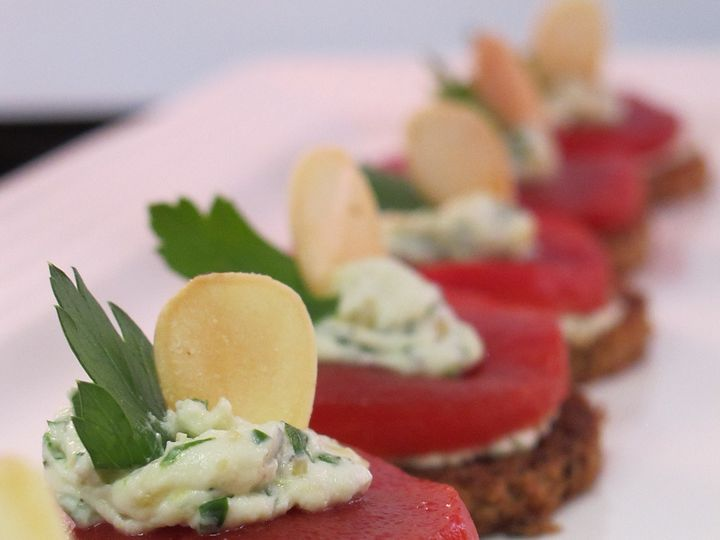 Tmx 1480704511727 Roasted Red Pepper  Toasted Almond Canape   P White River Junction wedding catering