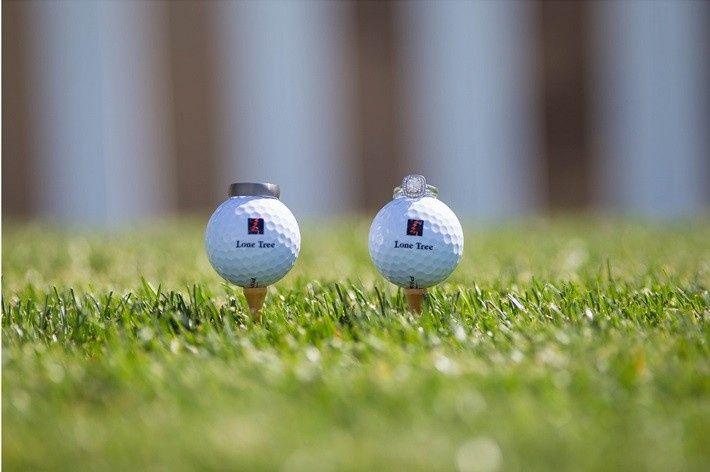Wedding rings on golf balls