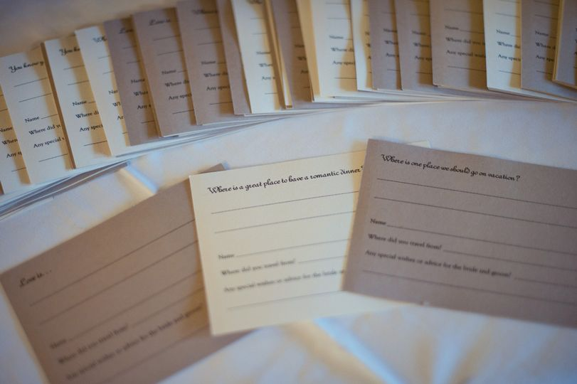 Marriage Advice Guestbook Cards. Molly & Bret Country Club Wedding @Altadena Town & Country Club...