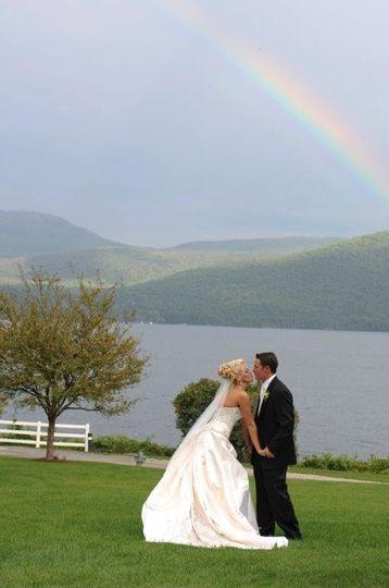 wedding couple rainbow