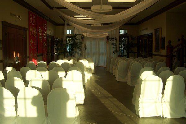 The Kerr Lobby draped for a wedding ceremony.