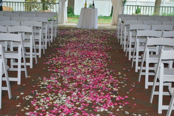 Petals on the wedding aisle