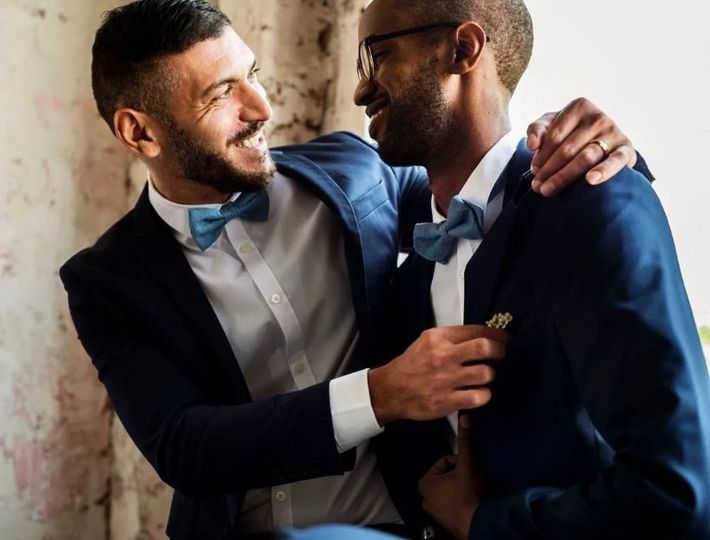 Matching navy suits