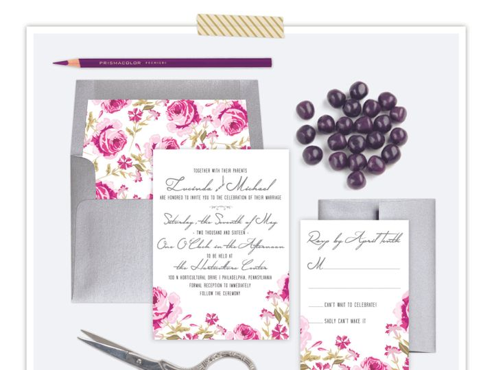 Tmx 1432056172847 Watercolorpurplefloral Philadelphia wedding invitation