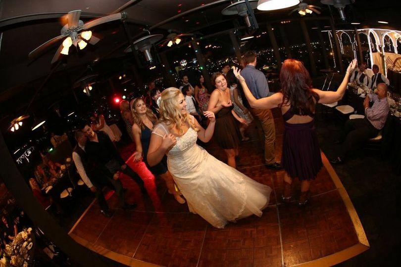 Bride enjoying the wedding party