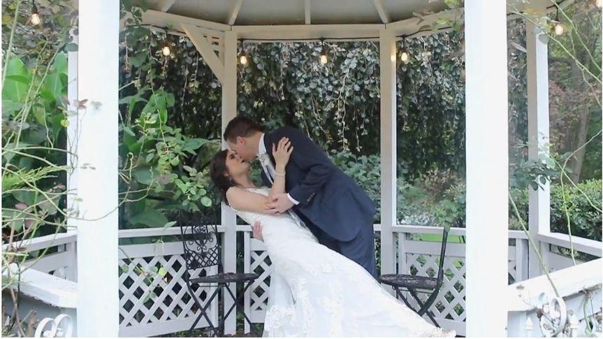 Kissing in a gazebo