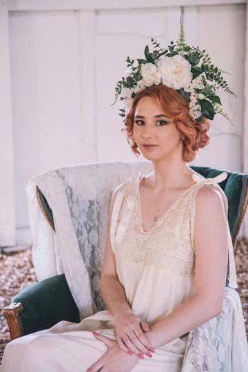 Wedding hair with flower crown