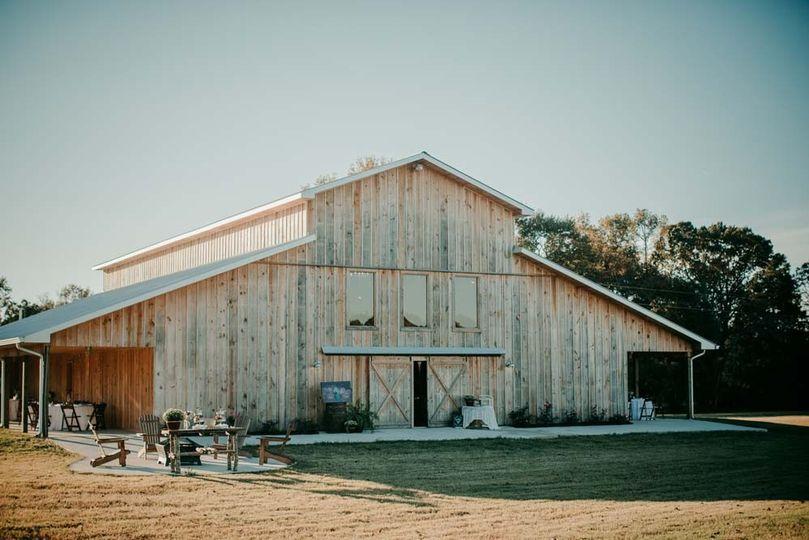 An exterior shot of the barn