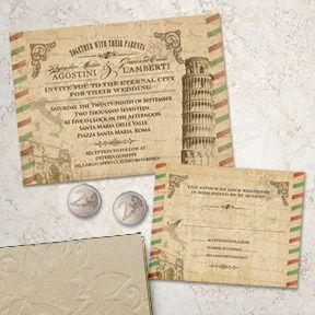 Vintage Italian Wedding Stationery Suite, Invitation and RSVP