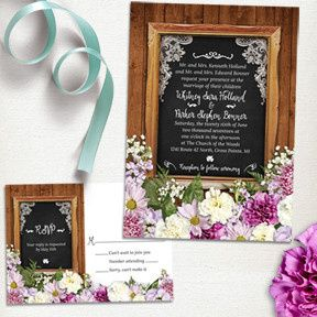 Rustic Spring Chalkboard Wedding Stationery Suite, Invitation and RSVP