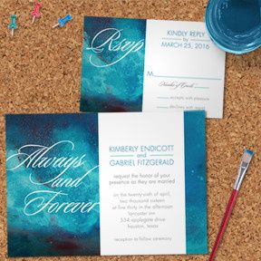 Always and Forever Watercolor Wash Wedding Stationery Set, Invitation and RSVP