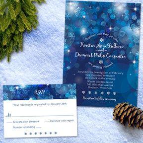 Snowflake Blue Bokeh Winter Wedding Stationery Set