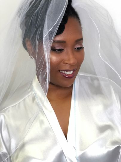 Bride in her robe