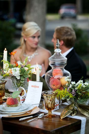 Lovely plantation venue, lovely bride, handsome groom .... and Carolina peaches for place cards! How...