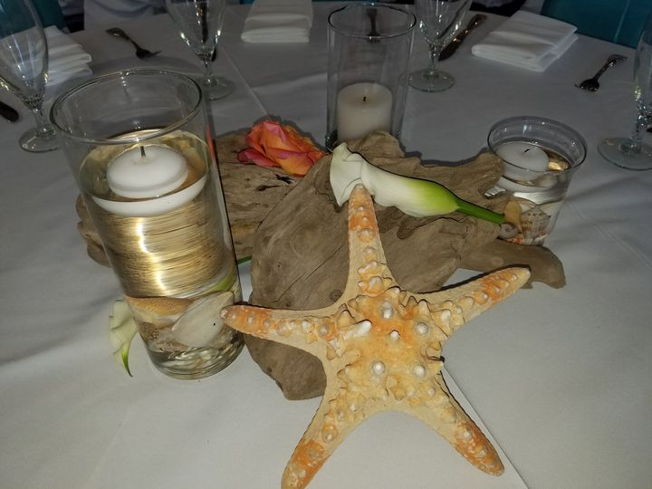 Star fish, drift wood and candles