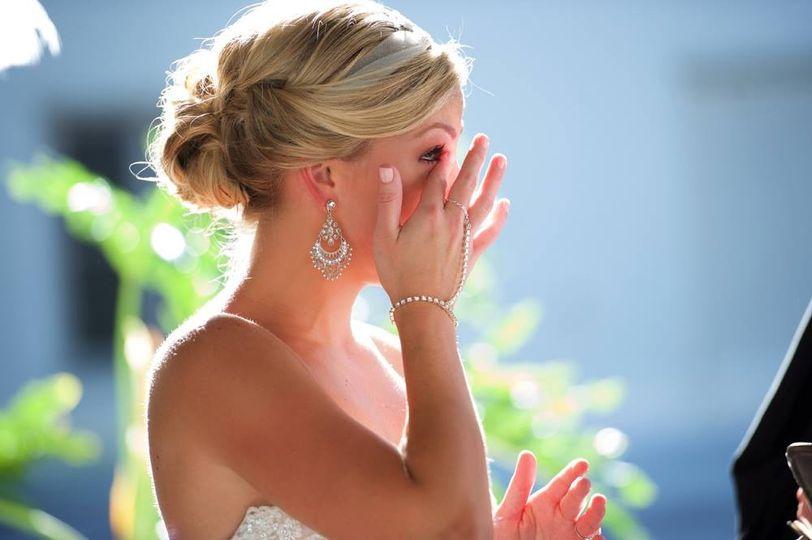 Bride crying tears of joy
