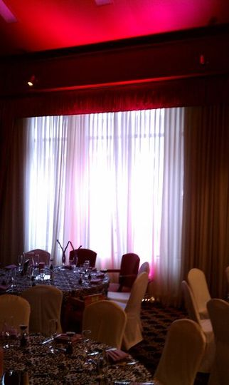 Fuschia Uplighting and Damask Table Linens